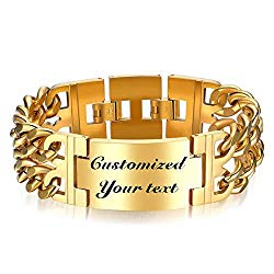 Thintom Men's ID Name Bracelet Stainless Steel Personalized Gift for Him Customized Engrave
