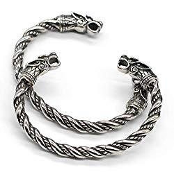 VikingsBrand Viking Norse Wolf Head Fenrir Arm Ring Bangle Bracelet