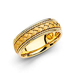 Wellingsale 14k Yellow Gold Polished Satin 6MM Handmade Braided Rope Comfort Fit Wedding Band Ring