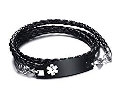 XUANPAI Free Custom Engraved Multilayer Braided Leather Bangle Medical Alert ID Bracelet for Womens Mens