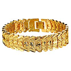 OPK Jewelry Men's Fashion 18k Yellow Gold Plated Link Bracelet Carving Bangle,8.26 Inch