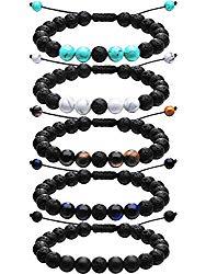 Tatuo Adjustable Lava Rock Stone Essential Oil Diffuser Bracelet Braided Rope Stone Yoga Beads Bracelets for Men Women (5 Colors Set A)