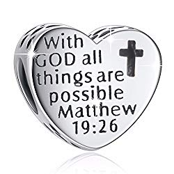 """925 Sterling Silver"""" with God All Things are Possible"""" Heart Charms Fit European Snake Chain Bracelets"""