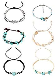 Hanpabum 6Pcs Beach Ankle Bracelets for Women Girls Anklets Adjustable Shell Turtle Starfish Turquoise Charms Anklets Set