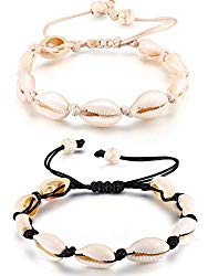 meekoo 2 Pieces Natural Cowrie Shell Anklet Seashell Crochet Ankle Bracelet Handmade Boho Shell Bead Anklet Adjustable Anklet Jewelry for Women Girls Hawaii Beach Parties