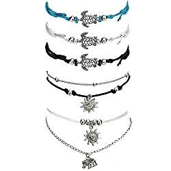 Suyi 5Pcs Beach Turtle Anklet Boho Handmade Adjustable Anklet Layered Rope Anklet Foot Chain for Women