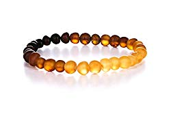 AMBERAGE Natural Baltic Amber Bracelet for Adults (Women/Men) – Hand Made from Raw-Unpolished/Certified Baltic Amber Beads(6 Colors)