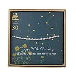 AnotherKiss 30th Birthday Gifts for Women – Sterling Silver Bead Bracelet for 30th Birthday Gift, Adjustable Jewelry 7″ – 9″ Cord