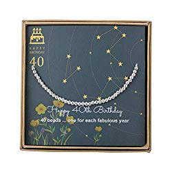 AnotherKiss 40th Birthday Gifts for Women – Sterling Silver Bead Bracelet for 40th Birthday Gift, Adjustable Jewelry 7″ – 9″ Cord