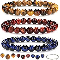 Beaded Gemstone Bracelets for Men and Women: Lava, Onyx and Tiger Eye Bracelet Sets with Spare Beads and Stretch Cord – Mens and Womens Boho Jewelry – 7.25 Inch Bead Bracelet 8mm Beads