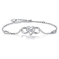 """Billie Bijoux Women 925 Sterling Silver Infinity Bracelet Forever Love"""" Infinity Heart White Gold Plated Diamond Adjustable Bracelet Best Gift for Women Girls Mother's Day"""