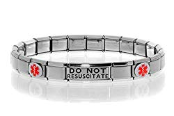 Dolceoro DO NOT RESUSCITATE Medical Alert Bracelet – Stainless Steel Stretchable Italian Style Modular Charm Links