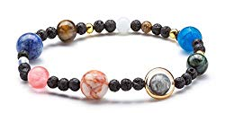 Fesciory Women Solar System Bracelet Universe Galaxy The Eight Planets Guardian Star Natural Stone Beads Bracelet Bangle for Men(Lava Stone(Stretch))