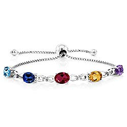 Gem Stone King 925 Sterling Silver Build Your Own Personalized 5 Birthstones Women's Tennis Bracelet