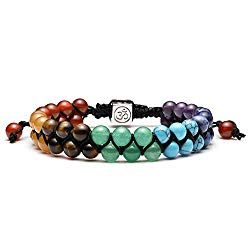 Jovivi Bead Chakra Bracelet – 6mm 8mm Healing Crystal Bracelet Natural Lava Rock Stone Bracelets Men Stress Relief Yoga Beads Essential Oil Diffuser Bracelets 7 Chakras Anxiety Bracelet for Women
