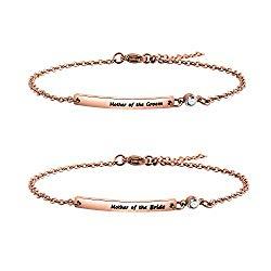 KUIYAI Mother of Bride and Mother of Groom Bar Bracelet Wedding Bracelet (RG Bracelet Set)