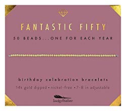 Lucky Feather 50th Birthday Gifts for Women | 14K Gold Dipped Beads Bracelet on Adjustable 7″- 8″ Cord – 50th Birthday Jewelry Gift Ideas