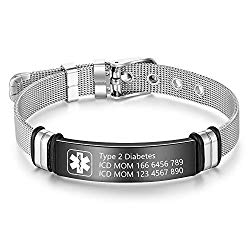 Medical Alert Bracelet for Men & Women Adjustable Free Engrave Stainless Steel Emergency Medical ID Bracelets Medic Alert Bracelet Health Alert Bracelets (With medical bracelet)