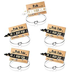 Mookoo Bridesmaid Bracelets 5 pcs Love Knot Open Bangle with Bride Tribe Hair tie for Best Friend, BFF of The Bride Wedding Gift