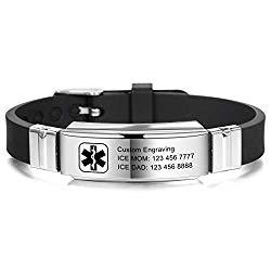 MOWOM Medical Bracelet Custom Engraved Silicone Adjustable Sport ID Identification Alert for Men Women Kids Stainless Steel – Bundle with Emergency Card, Holder (Black,Custom Engraving