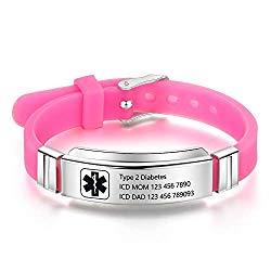 OPALSTOCK Personalized Bracelet Silicone Medical Bracelets Adjustable Sport Emergency ID Bracelets Free Engraving 9 Inches Waterproof ID Alert Bracelets for Men Women Kids (Pink)