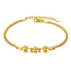 SISGEM Solid 18k Yellow Gold Bracelets for Women, Real Gold Chain Bracelet Adjustable (2.3 mm, 6.5″-7.7″) (Yellow-Gold)