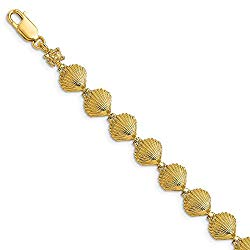 Solid 14k Yellow Gold Scallop Shell Bracelet for Women 7 inch