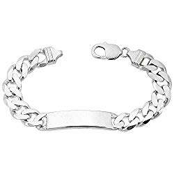 Sterling Silver ID Bracelet Curb Link 3/8 inch wide Nickel Free Italy 8 inch