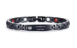 XUANPAI Free Engraving Personalized Stainless Steel Magnetic Therapy Medical Alert ID Bracelet Adjustable (Just Throw me in The Trash)
