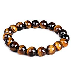 10mm Natural Tiger Eye Bracelet Elastic Yoga Gemstones Healing Energy Men Women Stretch Bracelet