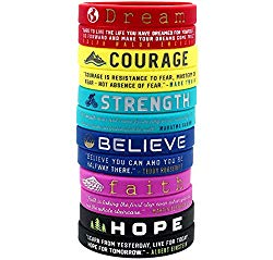 (12-Pack) Inspirational Quote Bracelets, Variety Pack – Dream Courage Strength Believe Faith Hope – Wholesale Pack of 1 Dozen Silicone Rubber Wristbands in Bulk – Party Favors Gifts for Teens Adults