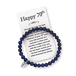 70th Birthday Gift for Women – 70th Jewelry Bracelet with Box, Bow and Card