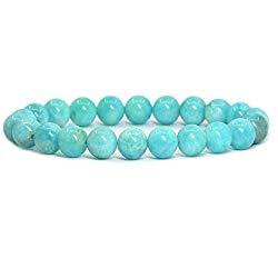 Amandastone Handmade Gem Semi Precious Gemstone 8mm Round Beads Stretch Bracelet 7″ Unisex