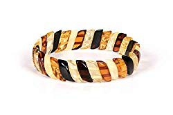 AMBERAGE Natural Baltic Amber Stretch Bracelet for Women – Hand Made from Polished/Certified Baltic Amber Beads(Multi)