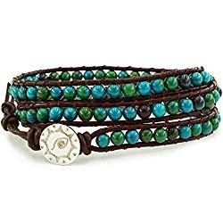"BLUEYES COLLECTION ""Amicable Blue Mix Green ChrysocollaGemstone Beads Genuine Leather Bracelet, 3 Wraps"