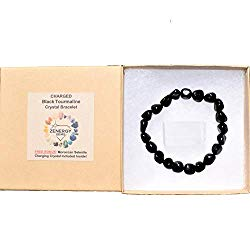 CHARGED Natural 6″ Black Tourmaline Crystal Bracelet Tumble Polished Stretchy HEALING ENERGY/PSYCHIC PROTECTION REIKI by ZENERGY GEMS