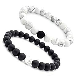 Distance Bracelet Enjoit Black Matte Agate & White Howlite Energy Stone Beads Bracelet Set Couple Jewelry
