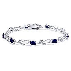 Gem Stone King 925 Sterling Silver Blue Sapphire and Diamond Greek Vine Tennis Bracelet 5.08 Ct Oval 7 Inch Gemstone Birthstone