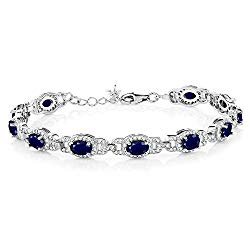 Gem Stone King 925 Sterling Silver Blue Sapphire Women's Tennis Bracelet, 9.65 Cttw, Gemstone Birthstone, 7 Inch with 1 Inch Extender