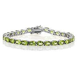 Gem Stone King 925 Sterling Silver Peridot Gemstone Birthstone Women's Tennis Bracelet, 12.00 Cttw Jewelry 7 Inch