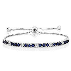 Gem Stone King Sterling Silver Blue Sapphire and White Diamond Tennis Bracelet Jewelry for Women's 2.05 cttw Fully Adjustable Up to 9 Inch