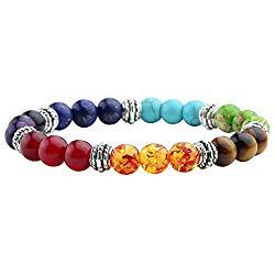 Jovivi 7 Chakras Bracelet Reiki Healing Balancing Round Beads