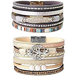 LightOnIt Boho Multi Rope Leather Wrap Bracelets for Women, Baroque Pearls Rhinestones Bohemian Cuff Bracelet with Magnet Buckle Clasp, Gift for Women Teen Girls – 2PCS