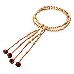 Newstone Kyoto Made Juzu Buddhist Prayer Beads Rosary, Honnenju, Honjuzu,@tsuge Wood with 100% Silk Tassel Shingon-shu Type [ Made in Kyoto]