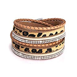 PHALIN Leather Wrap Bracelet for Women Crystal Wide Cuff Bracelets Multi-Layer Leopard Bangles Wristbands for Girls