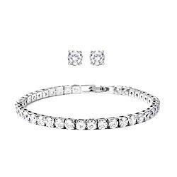 Shop LC Delivering Joy Line Women Diamond Round Cut Tennis Bracelet with Stud Solitaire Earrings White Cubic Zirconia CZ Jewelry Set 7″ Cttw 11.5