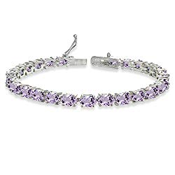 Sterling Silver Genuine, Created or Simulated Gemstone Oval-cut Tennis Bracelet…
