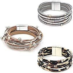 Suyi 3 Pieces Multilayer Leather Bracelet Beads Wrap Bracelet Wrist Cuff Bangles with Magnetic Buckle for Women