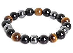 SX Commerce Triple Protection Bracelet for Protection Bring Luck and Prosperity Hematite Black Obsidian Tiger Eye Stone Bracelets