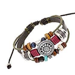 Vintage Bohemia Beaded Bracelet, OYEFLY Multilayer Hand Woven Wristbands, Hemp Cords Wrap Bracelet Jewelry for Men and Women
